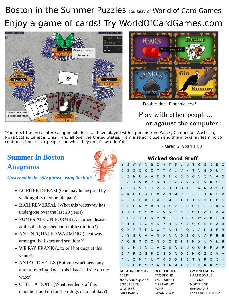 boston summer word puzzles