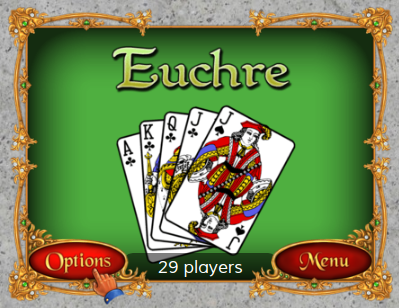 Options button for Euchre at World of Card Games
