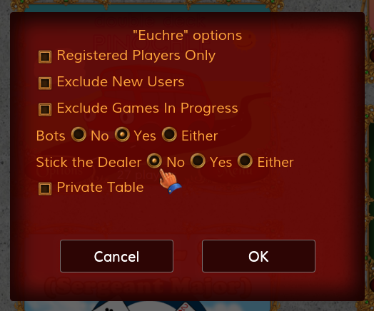 Options panel for Euchre at World of Card Games