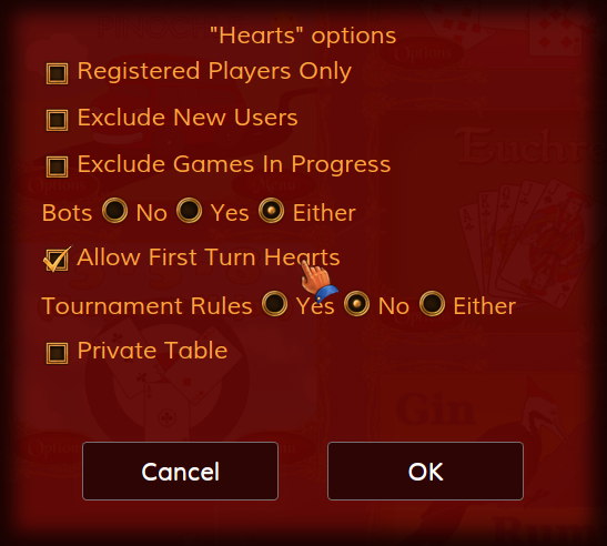 Allow First Turn Hearts option