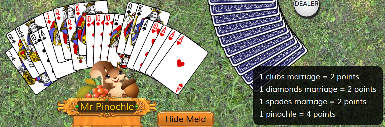 Showing melds in Double Deck Pinochle